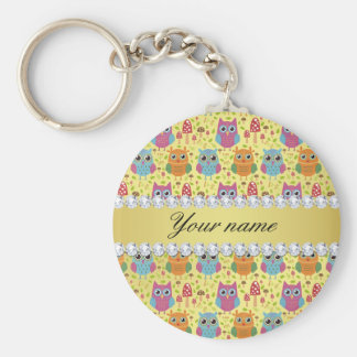 Colorful Owls Faux Gold Foil Bling Diamonds Keychain