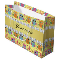 Colorful Owls Faux Gold Foil Bling Diamonds Large Gift Bag