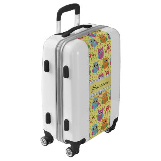Colorful Owls Faux Gold Foil Bling Diamonds Luggage