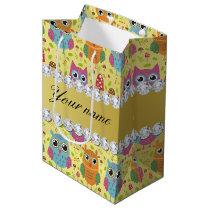 Colorful Owls Faux Gold Foil Bling Diamonds Medium Gift Bag