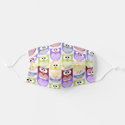 Colorful Owls _ Green Blue Purple Yellow Cloth Face Mask