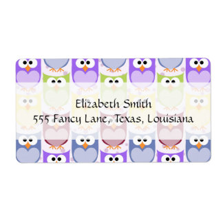Colorful Owls - Green Blue Purple Yellow Shipping Label
