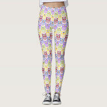 Colorful Owls - Green Blue Purple Yellow Leggings