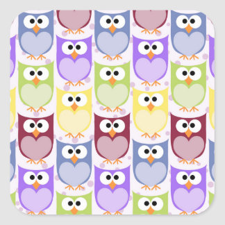 Colorful Owls - Green Blue Purple Yellow Stickers