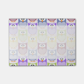 Colorful Owls - Green Blue Purple Yellow Post-it® Notes
