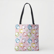 Colorful Owls - Green Blue Purple Yellow White Tote Bag