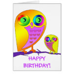 Colorful Owls Greeting Cards