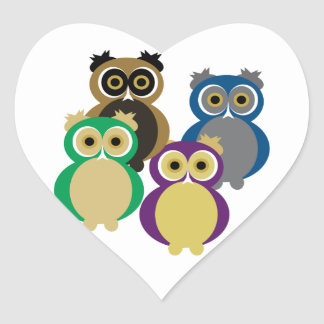 Colorful Owls Heart Sticker