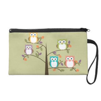 Colorful Owls in Pretty Tree Wristlet Clutch