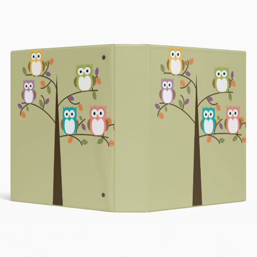 Colorful Owls in Pretty Tree 3 Ring Binder
