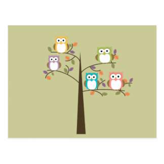 Colorful Owls in Pretty Tree Cue Cards