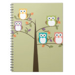 Colorful Owls in Pretty Tree Notebooks