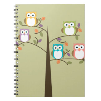 Colorful Owls in Pretty Tree Spiral Notebook