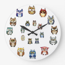 Colorful Owls Large Clock
