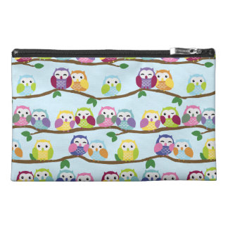 Colorful owls on a branch travel accessories bags