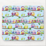 """Colorful owls on a branch mouse pad<br><div class=""""desc"""">Colorful owl pattern featuring cute owls on a continuous branch. Very cute!</div>"""