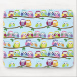 "Colorful owls on a branch mouse pad<br><div class=""desc"">Colorful owl pattern featuring cute owls on a continuous branch. Very cute!</div>"