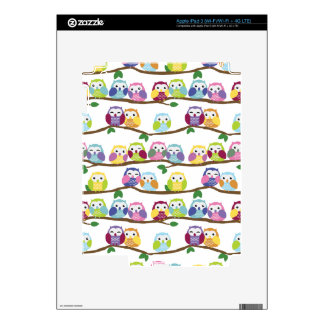 Colorful owls on a branch skin for iPad 3