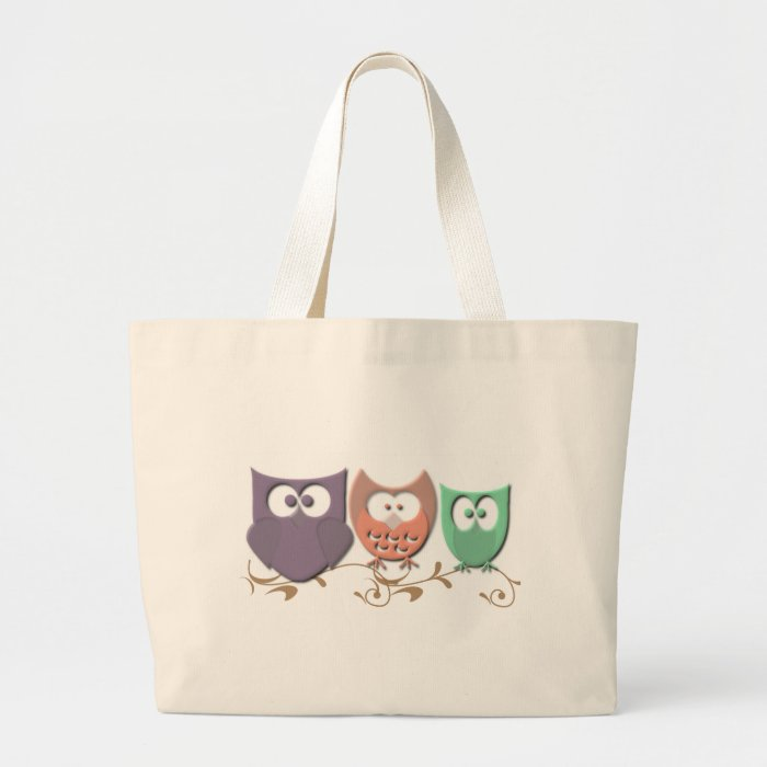 Colorful Owls on a Vine Large Tote Bag