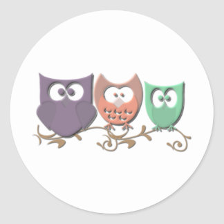 Colorful Owls on a Vine Picture Classic Round Sticker