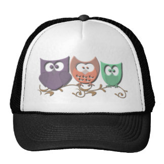 Colorful Owls on a Vine Picture Mesh Hat