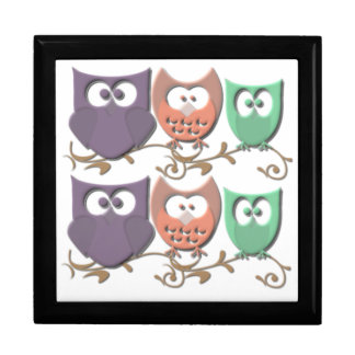 Colorful Owls on a Vine Picture Keepsake Box