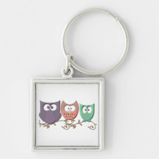Colorful Owls on a Vine Picture Keychain