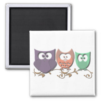 Colorful Owls on a Vine Picture 2 Inch Square Magnet