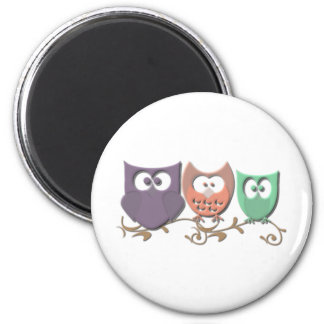 Colorful Owls on a Vine Picture 2 Inch Round Magnet