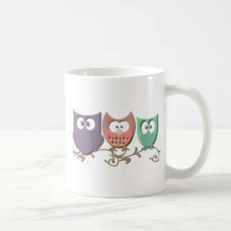 Colorful Owls on a Vine Picture Mug