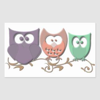 Colorful Owls on a Vine Picture Rectangular Sticker