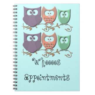 Colorful Owls on a Vine Picture Spiral Notebook