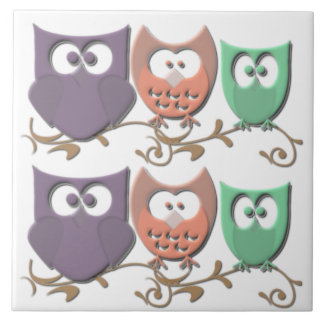 Colorful Owls on a Vine Picture Tile