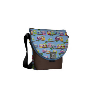 Colorful Owls on branches pattern Messenger Bag