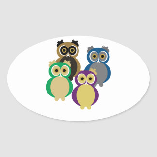 Colorful Owls Oval Sticker