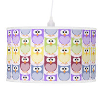 Colorful Owls, Owl Pattern - Green Blue Purple Hanging Lamp
