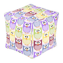 Colorful Owls, Owl Pattern - Green Blue Purple Pouf