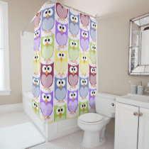 Colorful Owls, Owl Pattern - Green Blue Purple Shower Curtain