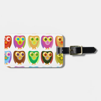 Colorful Owls Pattern Luggage Tag