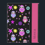 "Colorful Owls Personalized iPad Folio Case<br><div class=""desc"">Cute iPad 2//3/4 folio style case done in jet black,  with a colorful cartoon owl and flower pattern.  Personalize the black text,  on the front pink band.  Great gift idea for her.</div>"