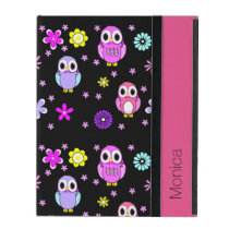 Colorful Owls Personalized iPad Folio Case