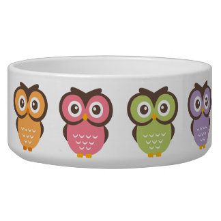 Colorful Owls Pet Water Bowls