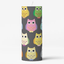 Colorful Owls Pillar Candle