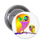 Colorful Owls Pinback Buttons