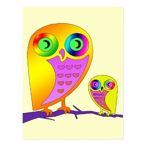 Colorful Owls Post Card