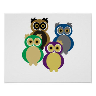 Colorful Owls Poster