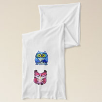 Colorful owls scarf