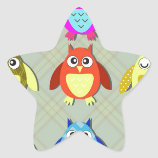colorful owls star sticker