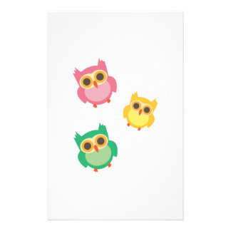 colorful owls stationery design