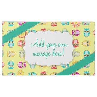 Colorful Owls Teal & Yellow - Custom Message 2 Pound Milk Chocolate Bar Box